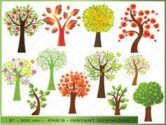 Tree Clipart  Digital Clip Art of Colorful by DigitalFileShop, $5.25