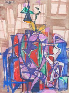 Kotík Pravoslav (1889–1970) | A Couple, 1960 | Aukce obrazů, starožitností | Aukční dům Sýpka Auction, Painting, Art, Craft Art, Painting Art, Kunst, Paint, Draw, Paintings