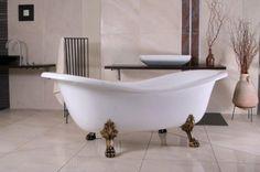 Freistehende Luxus Badewanne Jugendstil Paris Weiß/Altgold 1880mm - Barock Badezimmer Freistehende Badewannen Badewannen