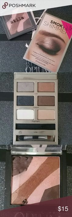 VS & Stila eyeshadow bundle Victoria's Secret smokey shimmer palette (s watched only for review, now discontinued, Ltd) Stila endless summer eyeshadow palette (swatch for review, upper left corner broke and repressed, ltd) Stila Makeup Eyeshadow
