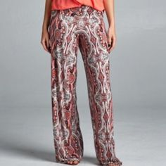 Arriving soon! Venicia print wide leg pants! Fold over waist wide leg raw edge pant with stunning print! Pants Wide Leg