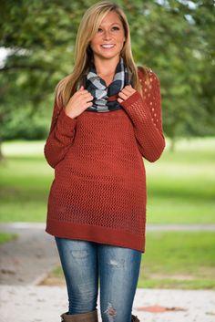 Meshing Around Sweater, Rust