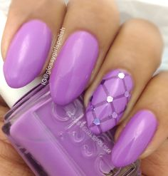 "Radiant orchid shade with quilted accent nail. Used Essie ""play date""."