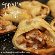 Apple Pie Danish from Chocolate, Chocolate and more #breakfast #snack #apple #apple Pie