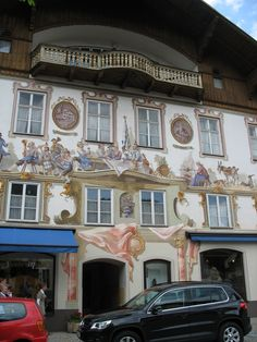 The frescoed homes in Oberammagau, Germany.
