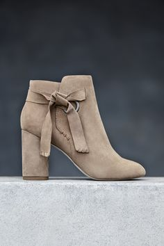 Taupe suede block heel bootie with ribbon tie details | Sole Society Zella