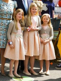 (L-R) Dutch Princess Alexia, Crown Princess Amalia and Princess Ariane attend the 2014 King's Day celebrations in Amstelveen.