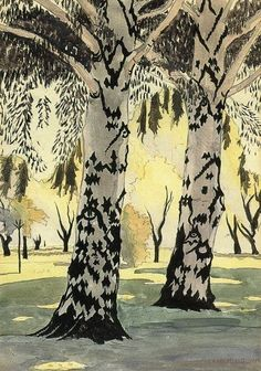 Poplars in May (also known as Between Two Poplars) Charles Burchfield (1916) Private collection Painting - oil on canvas