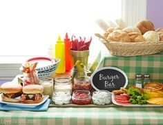 """Sandra @ ribbonsandfavors.com Inspiration photo. Put together a """"Burger Bar"""". Another chalk board sign...I'm really liking these!"""