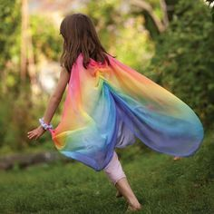 Fairies will love slipping the lavendar silk dress over their heads, spreading gossamer wings and flying off into the land of fancy.