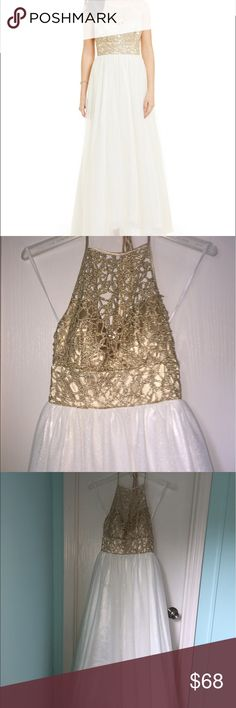 Women's Prom/Formal Dress A women's gold and white formal/prom dress. size 0-1, Although the size on the tag has been removed. Only worn once for 2017 prom. Like new condition. B Darlin Dresses Prom