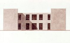 Giorgio Grassi · House for four brothers in Miglianico - Calculating Infinity Brick Architecture, Architecture Visualization, Concept Architecture, Architecture Drawings, Contemporary Architecture, Photoshop Projects, Photoshop Design, Aldo Rossi, Arch Building