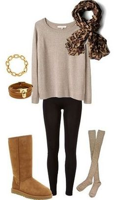 Fall outfit, minus the Uggs. I'm not an Uggs person, I'd wear a different boot. Lazy Outfits, Mode Outfits, Casual Outfits, Fashion Outfits, Fashion Trends, Scarf Outfits, Fashion 2018, Hijab Casual, Simple Outfits
