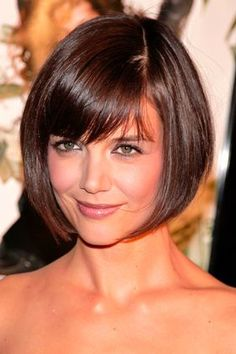 Thick bangs give the chin-length cut a dramatic frame and won't require daily fussing.