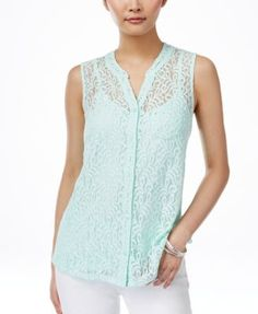 Style & Co. Petite Lace Button-Front Blouse, Only at Macy's