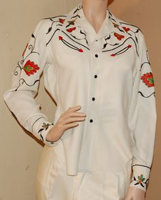 1950s western shirt in white with floral embroidery