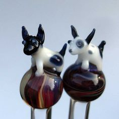 Little Dog Glass Knitting Needles US 10 6mm by KimX on Etsy, $42.00