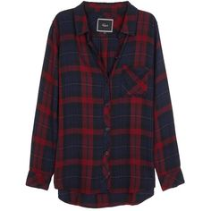Rails Hunter Burgundy Plaid Flannel Shirt (1.765 UYU) ❤ liked on Polyvore featuring tops, shirts, flannels, jackets, tartan plaid flannel shirt, blue plaid shirt, curved hem shirt, blue shirt and burgundy shirt