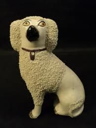 Ahh - put big, weird eyes on anything and it gets interesting... (Staffordshire pottery poodle figurine, c. early 1900s.)