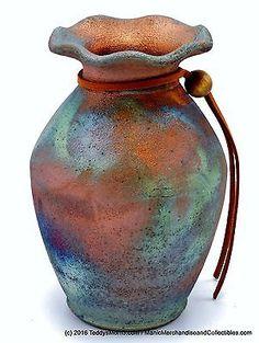 Signed Arizona Raku Studio Pottery Vase Copper Turquoise Luster New w/ Tag