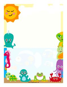 Aquatic creatures are featured in this colorful border. Free to download and print.