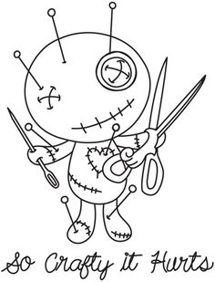 Voodoo Doll Tattoo, Voodoo Dolls, Scary Coloring Pages, Coloring Book Pages, Creepy Drawings, Cute Drawings, Art Drawings Sketches, Cartoon Drawings, Doll Drawing