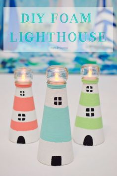 Making your own lighthouse craft has never been so easy. I made mine to go with my coastal home decor theme with just some foam cones and baby food jars!