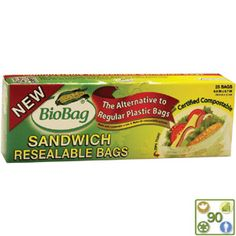 #Biodegradable #Compostable Sandwich Bags by Bio Bags available on BuyGreen.com - ditch the plastic! $3.85 #plasticfree #green #eco