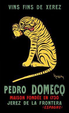 Pedro Domecq Fine Wines  by Cappiello.  1912  http://www.vintagevenus.com.au/products/vintage_poster_print-d557
