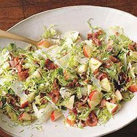 Brussels Sprouts Salad with Apples, Pecans and bacon. take out the cheese and paleo!