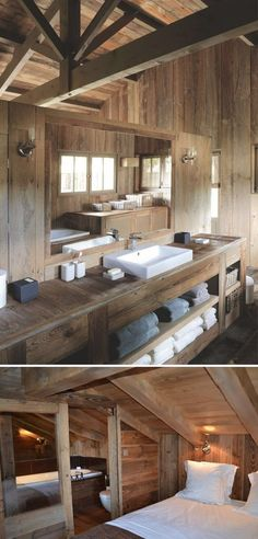 A wooden house in Cap Ferret, France Cabin Bathrooms, Rustic Bathrooms, Chalet Design, House Design, Chalet Interior, Cabin Interiors, Wooden House, Cabin Homes, Bathroom Interior