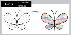 Magnifique contenu sur Graphisme traits verticaux et horizontaux - Papillon abstrait