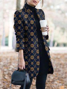 Fashion Pocket Floral Printed Pattern Women Coats - Fashion Pocket Floral Printed Pattern Women Coats – ClothingI Source by clothingishop - Blazer Fashion, Fashion Outfits, Womens Fashion, Fashion Coat, Coats For Women, Jackets For Women, Clothes For Women, Mode Costume, Iranian Women Fashion