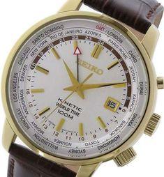 Seiko Kinetic GMT World Time Orolgio Uomo Elegante Pelle Cool Watches, Watches For Men, Solar Time, Boat Dealer, 100m, Seiko Watches, Beautiful Watches, Luxury Watches, Stainless Steel Case