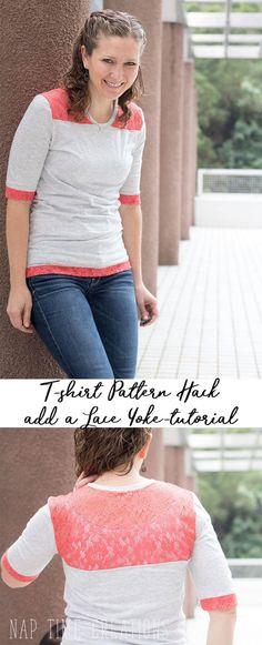 Kostenloses Schnittmuster für ein T-Shirt mit dekorativer Spitze ❤ T-Shirt kurzarm ❤ klassischer Schnitt ❤ mit Tutorial ❤ Gr. XS-XL ❤ ✂ Nähtalente.de ✂