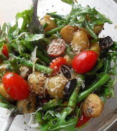Warm potato, olive and green bean salad