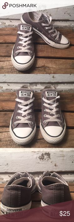 Converse AllStar Dark Grey Women's Size 6/Men's Size 4. Preowned and plenty of use left in these. All star logo on right heel faded as shown in photo and on the left shoe only flaw would be small Lil cracks in rubber shown on both sides up around where 2 eyelets are. Shown in last 2 photos. Would recommend bleaching shoestrings other than that great Preowned Sneaker. Converse Shoes Sneakers