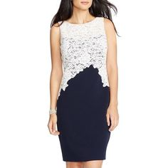 Petite Lauren Ralph Lauren Lace & Crepe Sheath Dress ($194) ❤ liked on Polyvore featuring dresses, petite, sweetheart dress, sleeveless sheath dress, floral print dress, lace dress and floral dress