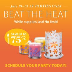 Over 75% off your summer favorites! #PartyLite #Candles