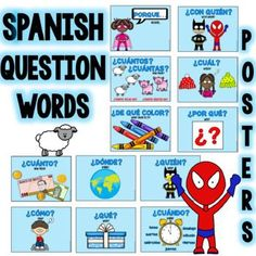 Palabras interrogativas en espaol This set includes the most used question words in Spanish. These colorful posters are great to decorate your classroom. It includes posters with translations and a set in Spanish only.Words and phrases Spanish Worksheets, Spanish Teaching Resources, Spanish Activities, Spanish Language Learning, Spanish Question Words, Spanish Words, Spanish Teacher, Spanish Classroom, Spanish Projects