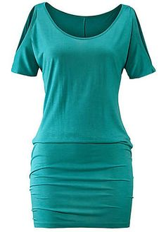 Casual green top in a fashionable long cut which has been designed with a slit detail on the shoulders and sparkling rhinestones on the sleeves. Great styling that is perfect for slipping on over swimwear or teaming up with leggings when it's time to leave the beach behind.LASCANA Top Features:  Colour: Green  Washable  100% Viscose  Length approx. 80 cm (31 ins)