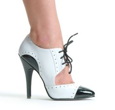 SEXY WHITE BLACK LADIES GANGSTER STYLE LACE HIGH HEELS WOMANS SHOES SIZE 2-11 UK | eBay