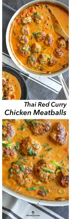 Thai Red Curry Chicken Meatballs #thaifoodrecipes