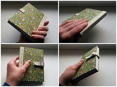 flower book / journal / green diary / handmade bookbindnig / Na lúke (zápisník A6 s riadkami)
