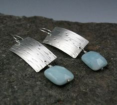 Zen Silver and Amazonite Rectangular Earrings
