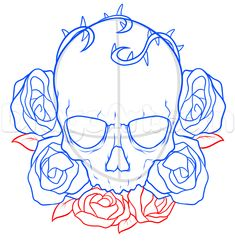 how to draw a skull and roses tattoo step 6