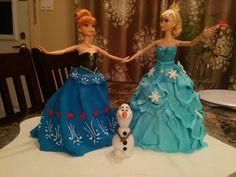 No, she wants this one instead! Frozen doll cake - reine des neige gâteau robe - elsa anna et olaf