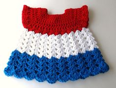 Patriotric Baby Dress Crocheted Red White and Blue by IDoYarn, $11.50