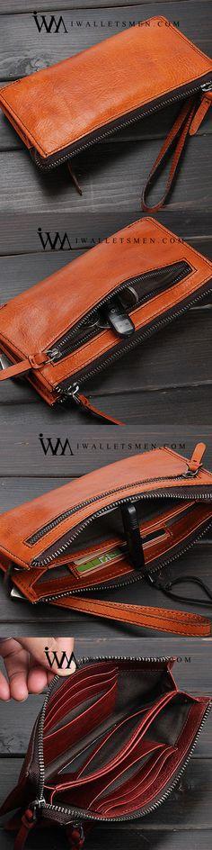 HANDMADE LEATHER MENS COOL LONG LEATHER WALLET ZIPPER CLUTCH WRISTLET WALLET FOR MEN