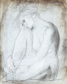 Drawing by Barbara Hepworth 1949 'Seated Girl' oil and pencil on card